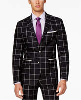Tallia Men's Slim-Fit Black and White Windowpane Sport Coat