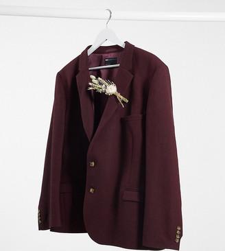 ASOS DESIGN Plus wedding super skinny wool mix suit jacket in burgundy