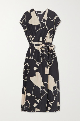 Equipment Bijou Printed Silk Wrap Midi Dress - Black
