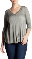 Lush Long Sleeve V-Neck Shirt (Plus Size)