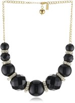 "Kate Spade Mod Squad"" Black And Crystal Short Necklace"