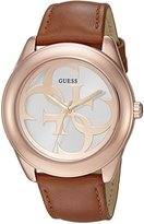 GUESS Women's U0895L3 Trendy Rose Gold-Tone Stainless Steel Watch with Analog Dial and Brown Strap Buckle