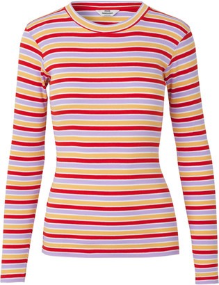 Mads Norgaard Tuba 2x2 Softy Stripe Multi Red - XS (8) | organic cotton | red | Lilac and Orange - Red/Red