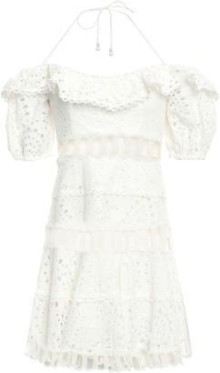 Zimmermann Floral-print Broderie Anglaise Cotton Mini Halterneck Dress
