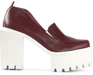 Jamie Wei Huang Square Leather High Heel Matt Wine