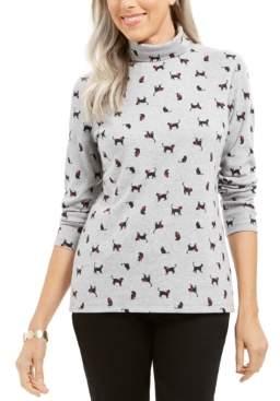 Karen Scott Cat & Bow Printed Turtleneck Top, Created For Macy's