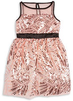 Poppies And Roses Girls 7-16 Sequined Illusion Dress