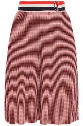Victoria Victoria Beckham Belted Pleated Striped Knitted Skirt