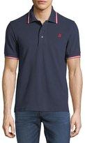 Bally Striped Cotton Pique Polo Shirt, Navy
