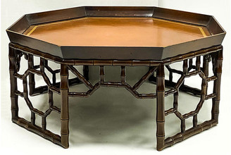 One Kings Lane Vintage Faux Bamboo Coffee Table With Leather - Von Meyer Ltd.