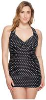 Lauren Ralph Lauren Plus Size Dot Skirted One-Piece Women's Swimsuits One Piece