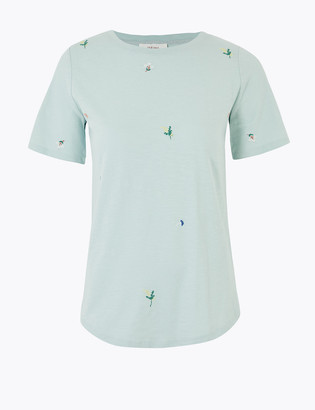 Marks and Spencer Pure Cotton Ditsy Embroidered T-Shirt