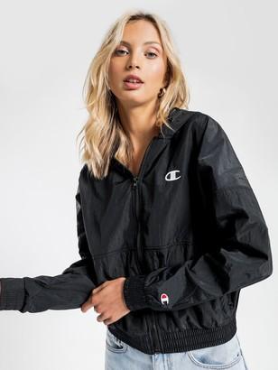 Champion Nylon Crinkle Full Zip Jacket in Black