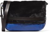 Clare Vivier Lou Faux Fur-Paneled Textured-Leather Shoulder Bag