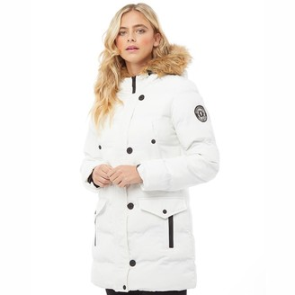 Brave Soul Womens Long Padded Bubble Jacket With Hood White
