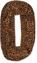 Neiman Marcus Cashmere Leopard-Print Eternity Scarf, Brown