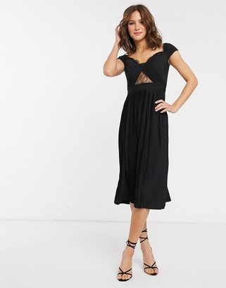 Bardot Asos Design ASOS DESIGN premium lace and pleat midi dress-Black