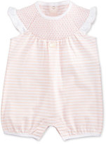 Armani Junior Sleeveless Striped Ruffle-Trim Playsuit, Pink/White, Size 3-12 Months