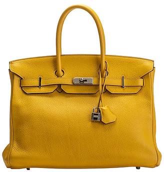 One Kings Lane Vintage Hermes Jaune d'Or Clemence 35cm Birkin - Vintage Lux - jaune d'or/palladium