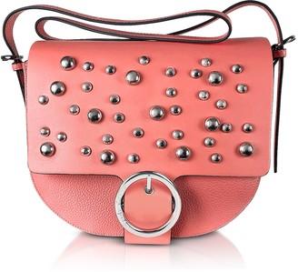 Manila Grace Coral Pink Studded Shoulder Bag