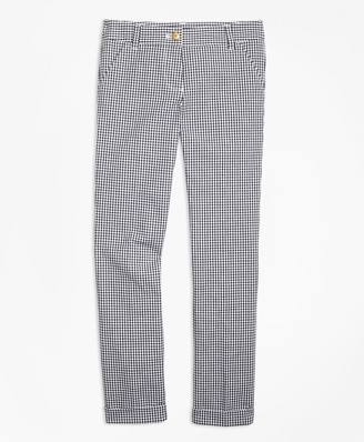 Brooks Brothers Girls Cotton Stretch Gingham Pants