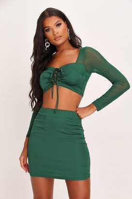 I SAW IT FIRST Emerald Satin And Mesh Milk Maid Crop Top And Skirt Set