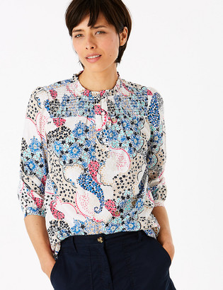 Marks and Spencer Cotton Printed Frill Detail Blouse