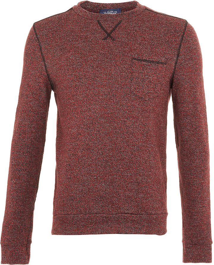 Topman Burgundy Knitlook Sweatshirt