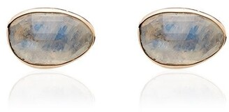 Melissa Joy Manning Rainbow 14K yellow gold moonstone stud earrings