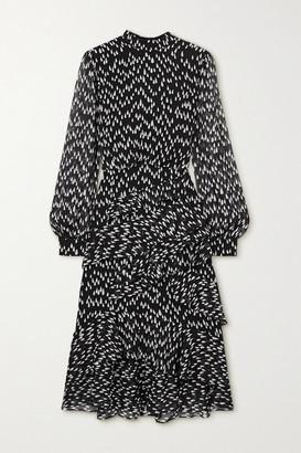 Saloni Isa Ruffled Printed Silk-georgette Midi Dress - Black