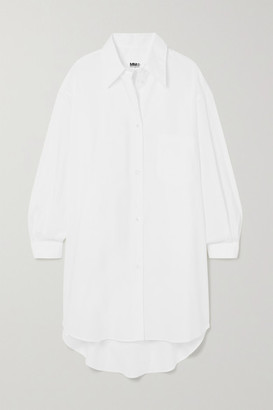 MM6 MAISON MARGIELA Oversized Embroidered Cotton-poplin Shirt Dress - White