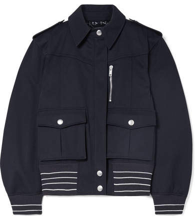 Givenchy Leather-trimmed Cotton-twill Jacket - Midnight blue