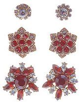 Charlotte Russe Gem & Rhinestone Flower Earrings - 3 Pack