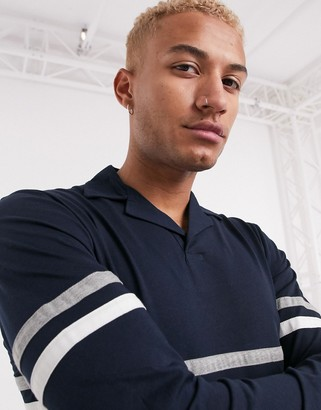 ASOS DESIGN long sleeve polo shirt with revere collar with contrast body panels in grey