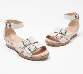 Dansko Leather Buckle Wedge Sandals - Astrid