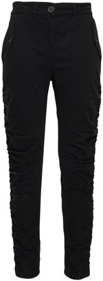 Robert Rodriguez Ruched Cotton-blend Twill Slim-leg Pants