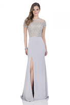 Terani Couture Short Sleeve Crepe Illusion Gown 1611M0608B
