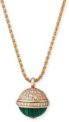 Piaget 18k Rose Gold, Diamond & Malachite Pendant