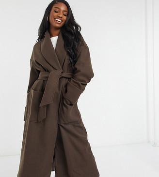 Asos Tall ASOS DESIGN Tall hero robe belted coat in brown