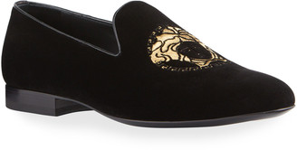 Versace Men's Medusa Head Velvet Slippers