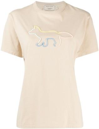 MAISON KITSUNÉ short sleeve rainbow fox T-shirt