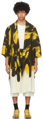 Homme Plissé Issey Miyake Yellow and Black Action Paint Cardigan