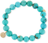 Sydney Evan 14k Turquoise Beaded Stretch Bracelet w/ Happy Face