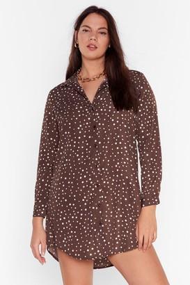 Nasty Gal Womens Oh You Shirt Plus Polka Dot Dress - Brown