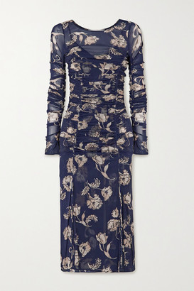 Diane von Furstenberg Corinne Ruched Floral-print Stretch-mesh And Crepe Dress - Navy