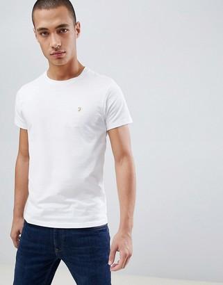 Farah Farris slim fit logo t-shirt in white
