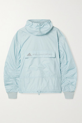 adidas by Stella McCartney Tech Cutout Ribbed-knit And Shell Jacket - Light blue