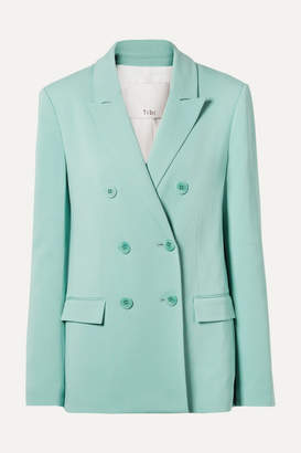Tibi Steward Oversized Double-breasted Stretch-crepe Blazer - Turquoise