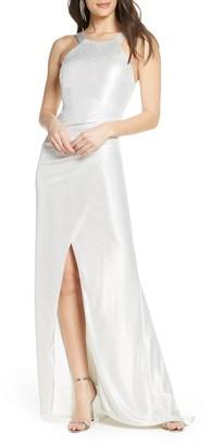 Sequin Hearts Metallic Halter Neck Gown