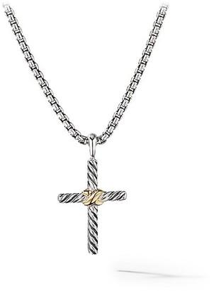 David Yurman Petite X Cross with 14K Yellow Gold on Chain